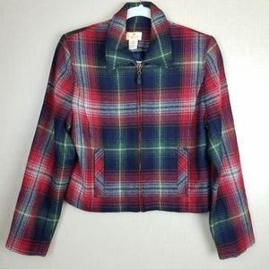 Vtg Limited America Plaid Italian Wool Coat Jacket